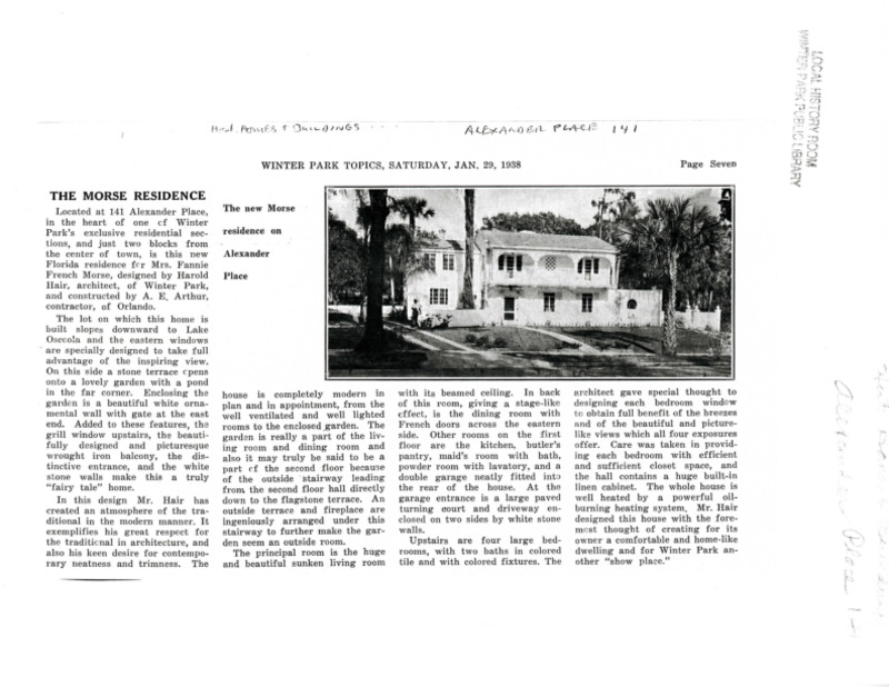Winter Park History Historic Homes - 141 Alexander Place (Fannie French Morse) - 001.pdf