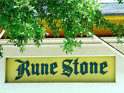 Detail of the sign at the Rune Stone Toy Store.