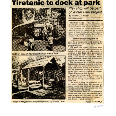 Tiretanic to dock at park - Play ship will be part of Winter Park project