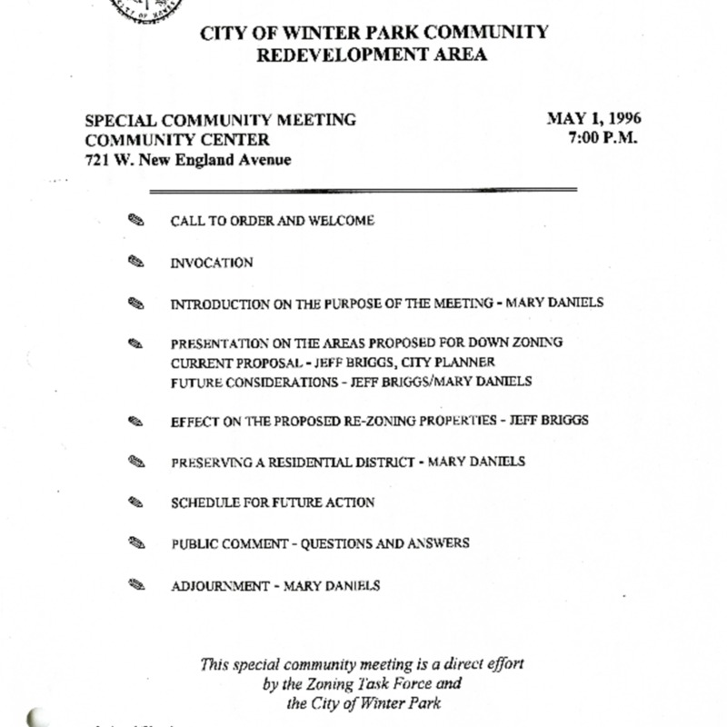 Special Community Meeting Agenda - Redevelopment Area