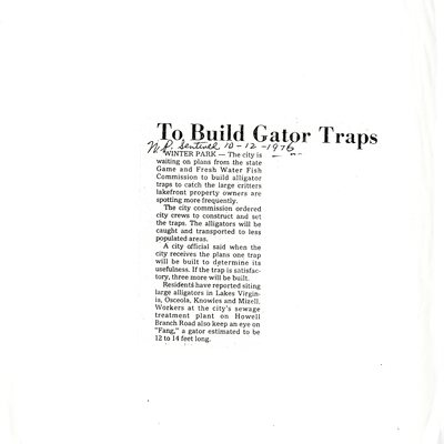 To Build Gator Traps