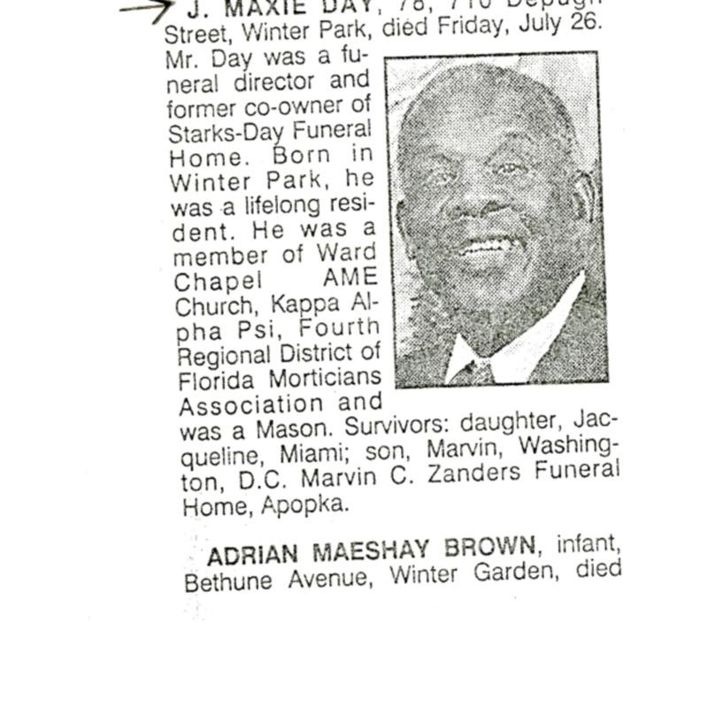 J. Maxie Day Obituary