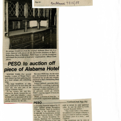 PESO to auction off piece of Alabama Hotel