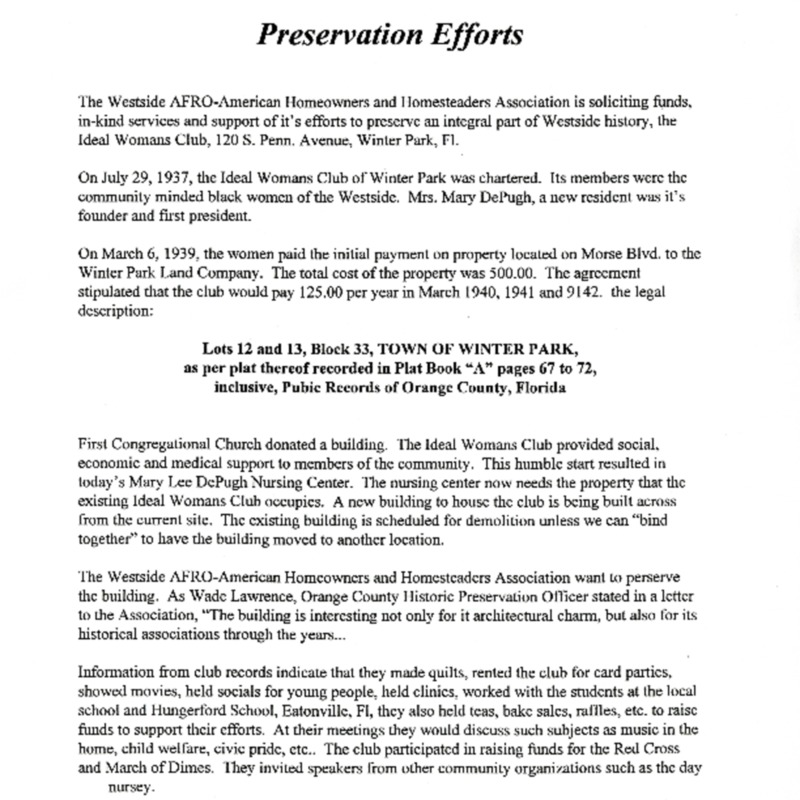 Ideal Womans Club Preservation Efforts Letter