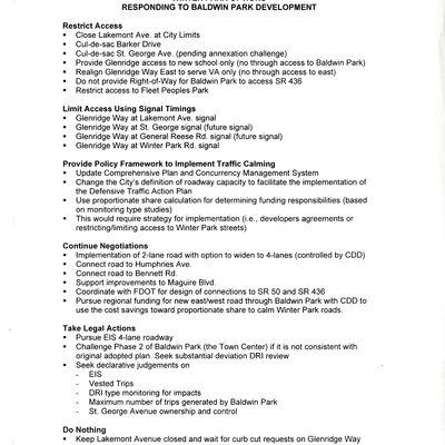 Baldwin Park Options: Responding to Baldwin Park Development