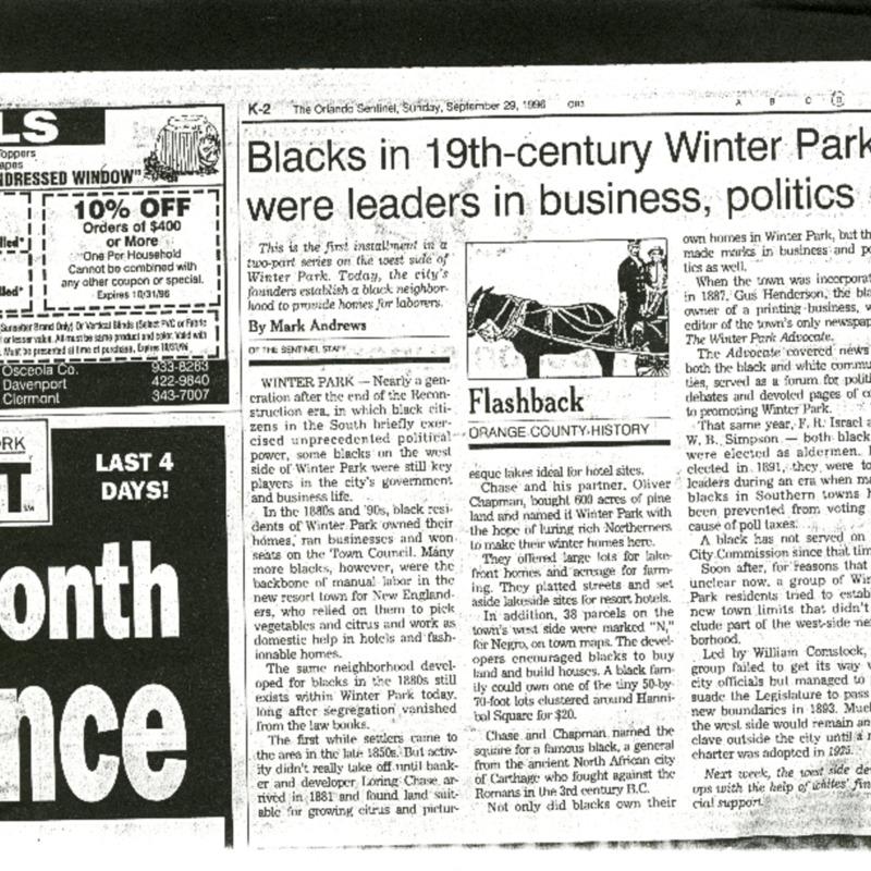 Blacks in 19th-century Winter Park were leaders in business, politics