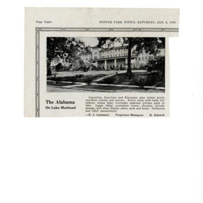 The Alabama on Lake Maitland ad