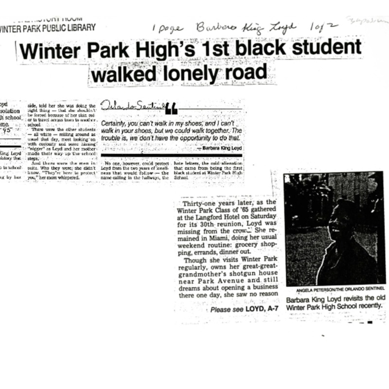 Winter Park High's 1st black student walked lonely road