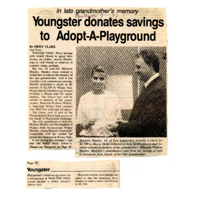 Youngster donates savings to Adopt-A-Playground