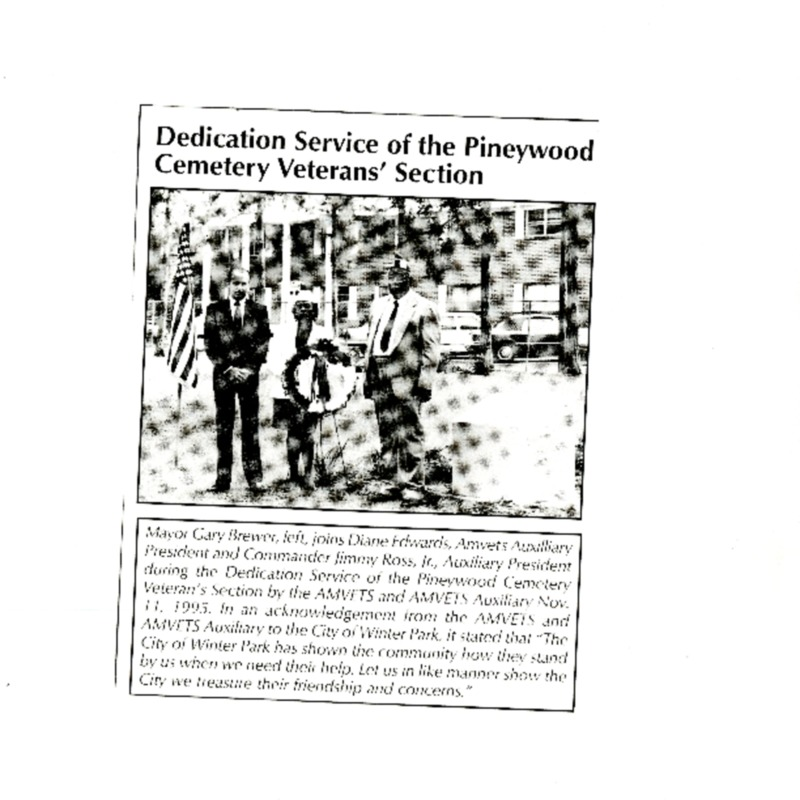Dedication Service of the Pineywood Cemetery Veterans' Section
