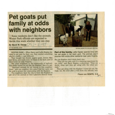 Pet goats put family at odds with neighbors