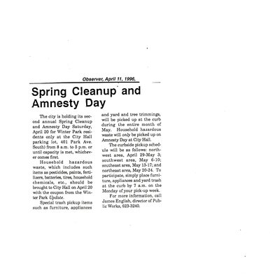 Spring Cleanup and Amnesty Day