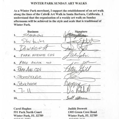 Winter Park Sunday Art Walks